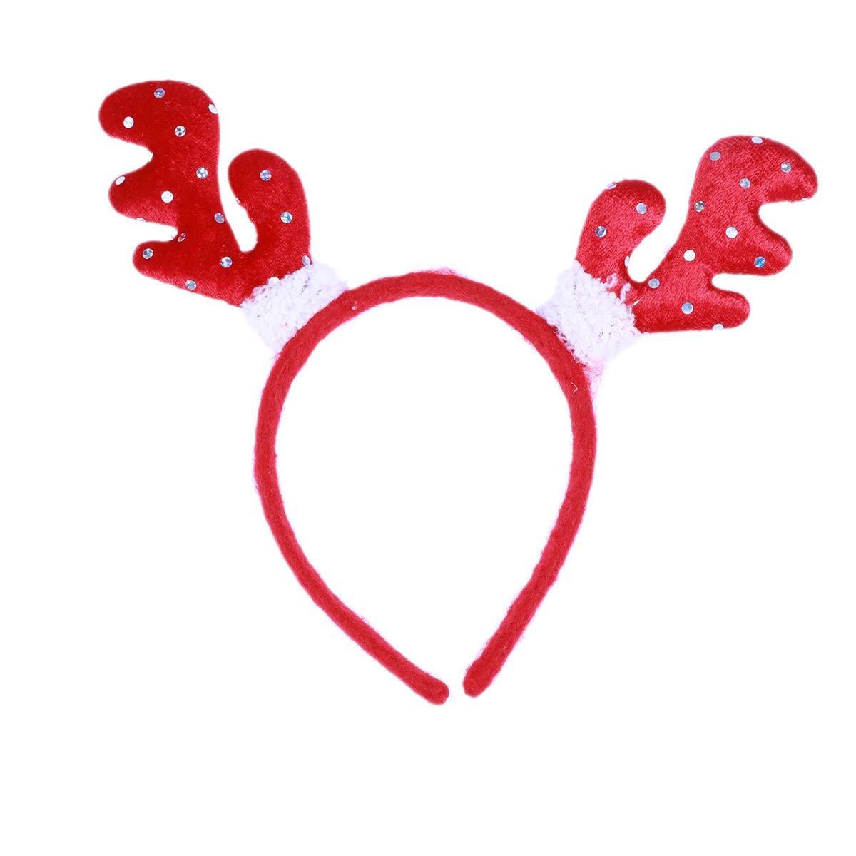 Toyvian Reindeer Antler Hair Hoop Red Adjustable Headband Headwear Christmas, Costume Party, Cosplay, Halloween and Masquerade
