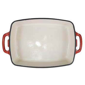 13 yeas golden supplier rectangular 30*23cm enamel cast iron frying pan with double handle