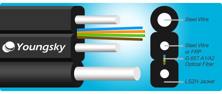 1 2 4 Core FTTH G657 A2 Flat Drop Fiber Optic Cable
