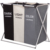 3 compartment Laundry  Basket Aluminum Frame  Dirty hamper Clothes Bag collapsible laundry basket for Bathroom hotel Home