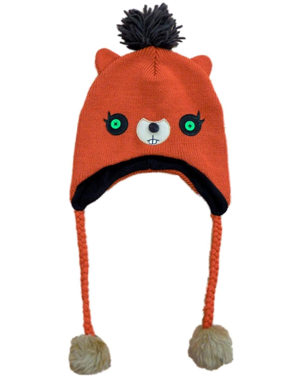 09265a16b2ba36 Womens Orange Knit Critter Character Peruvian Style Trapper Hat Fleece Lined
