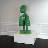 Custom modern pop design fiberglass cartoon man with two money bags statue