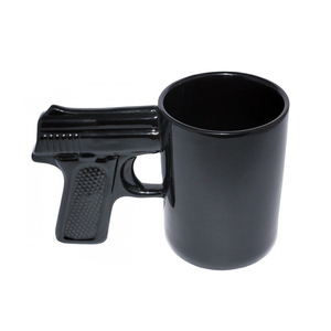 Funny Ceramic Black Hand Gun Coffee Tea Mug