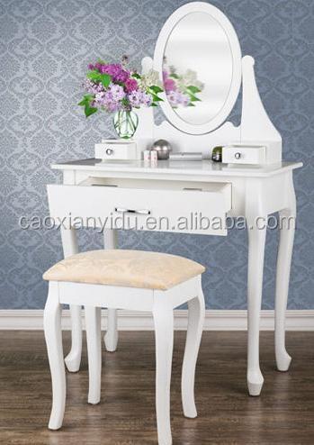מדהים לבן מודרני שולחן איפור עם מראה / שולחן איפור עם שרפרף / שידת עץ MN-33