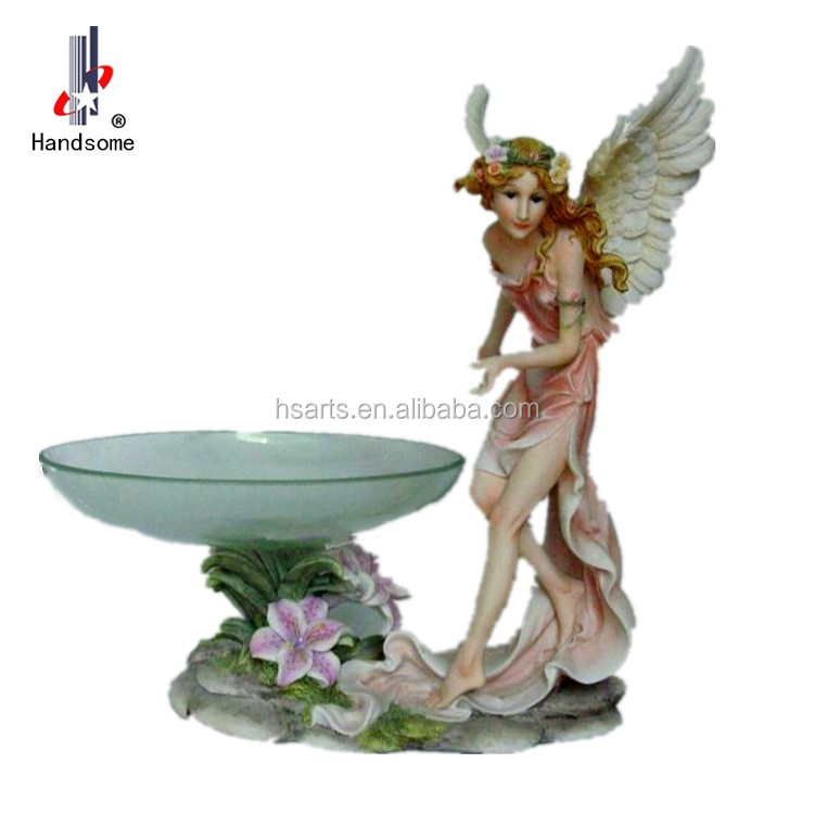 14 Inch Resin Home Functionality Decoration Fly Fairy Dry Fruit Glass Plate