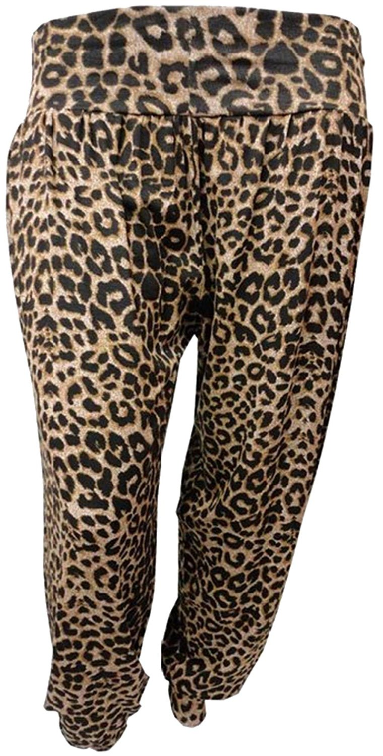 41cdcd78495 Get Quotations · Womens Plus Size Leopard Print Harem Trouser Animal Print Hareem  Pants
