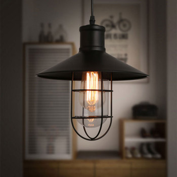 Rustic Pendant Lights Vintage Style Lamps Metal Lamp Shade Lighting Linear Suspension Black