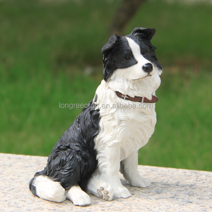 Sitting Border Collie Model Real Looking Dog Animal Toy Resin Crafts