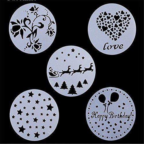 VALINK 5 piece/lot Flowers Mold Spray, Cake Stencil, Plastic Cookie Stencil, Fondant Cake Decoration Mold,Wedding Christmas CakeBiscuits Bakeware Mould,Sugar Powder Sieve Pastry Spray Baking Tools