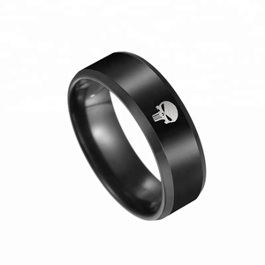 Hot Sale Black Plated Skull Engraved Biker Men's Finger Ring