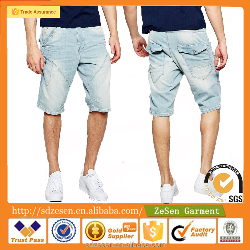 Wholesale Apparel Business Light Wash Anti Fit Denim Shorts Jeans Cargo Shorts For Men