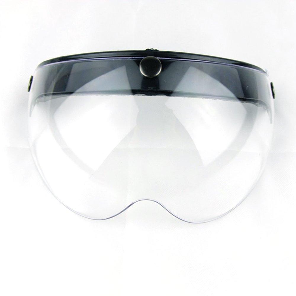 49455f0b Get Quotations · Motorcycle Retro Pilot-Style Open Face Helmet Wind Shield  3 Snap-Button Visor Flip