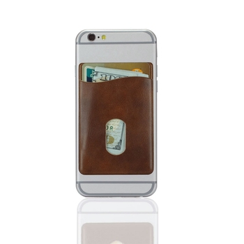 Faux leather Mobile phone 3M sticky slim card pocket