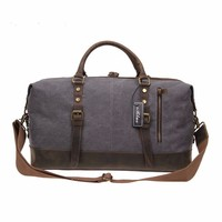 Unisex 21 Inch Oversized Canvas Leather Travel Duffel Bag Casual Sports Tote Handbag ladies travel bags