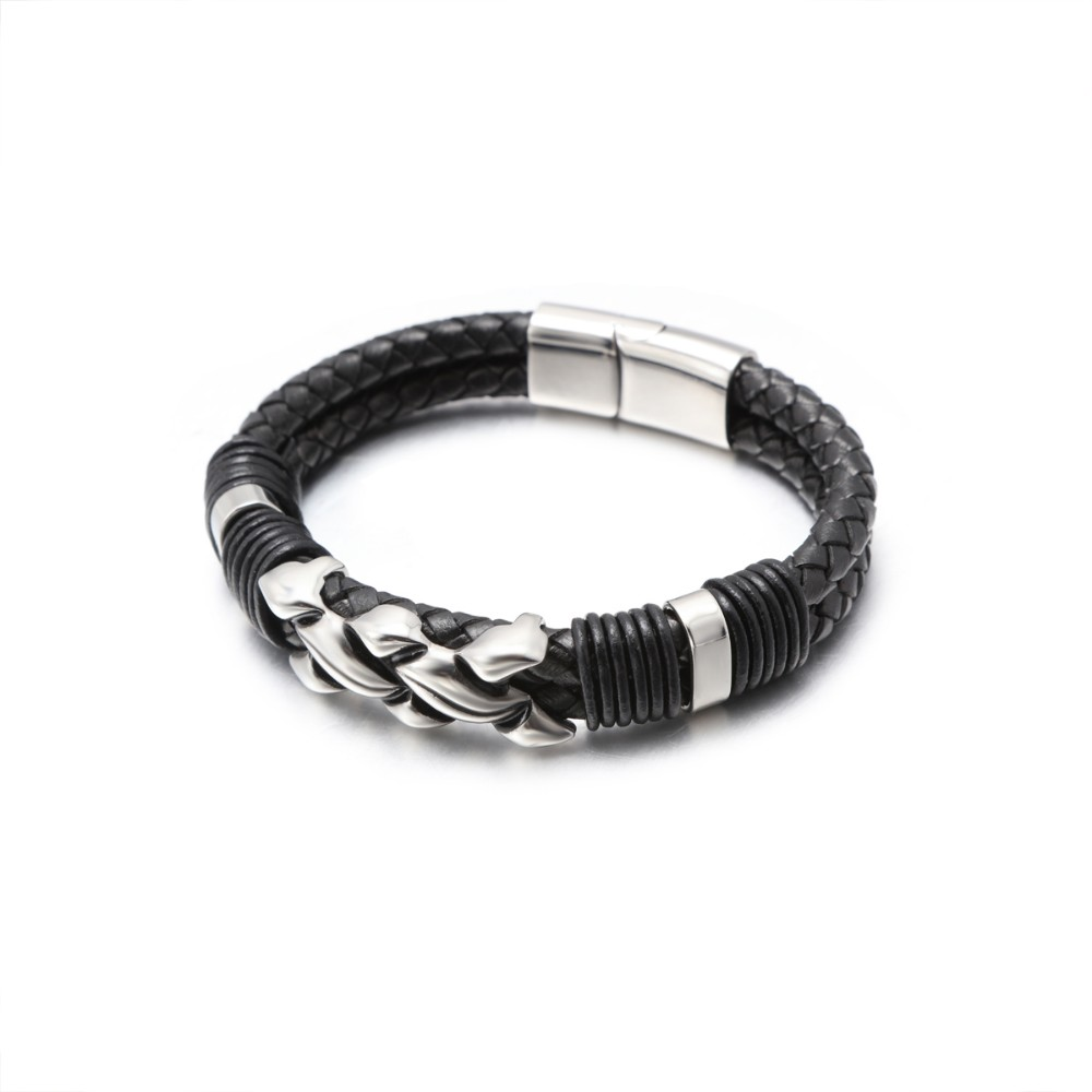 stainless steel black genuine leather men's bracelets for gift