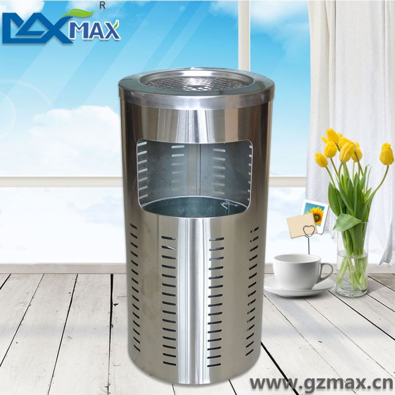 Round hollow ashtray stainless steel commercial litter bin