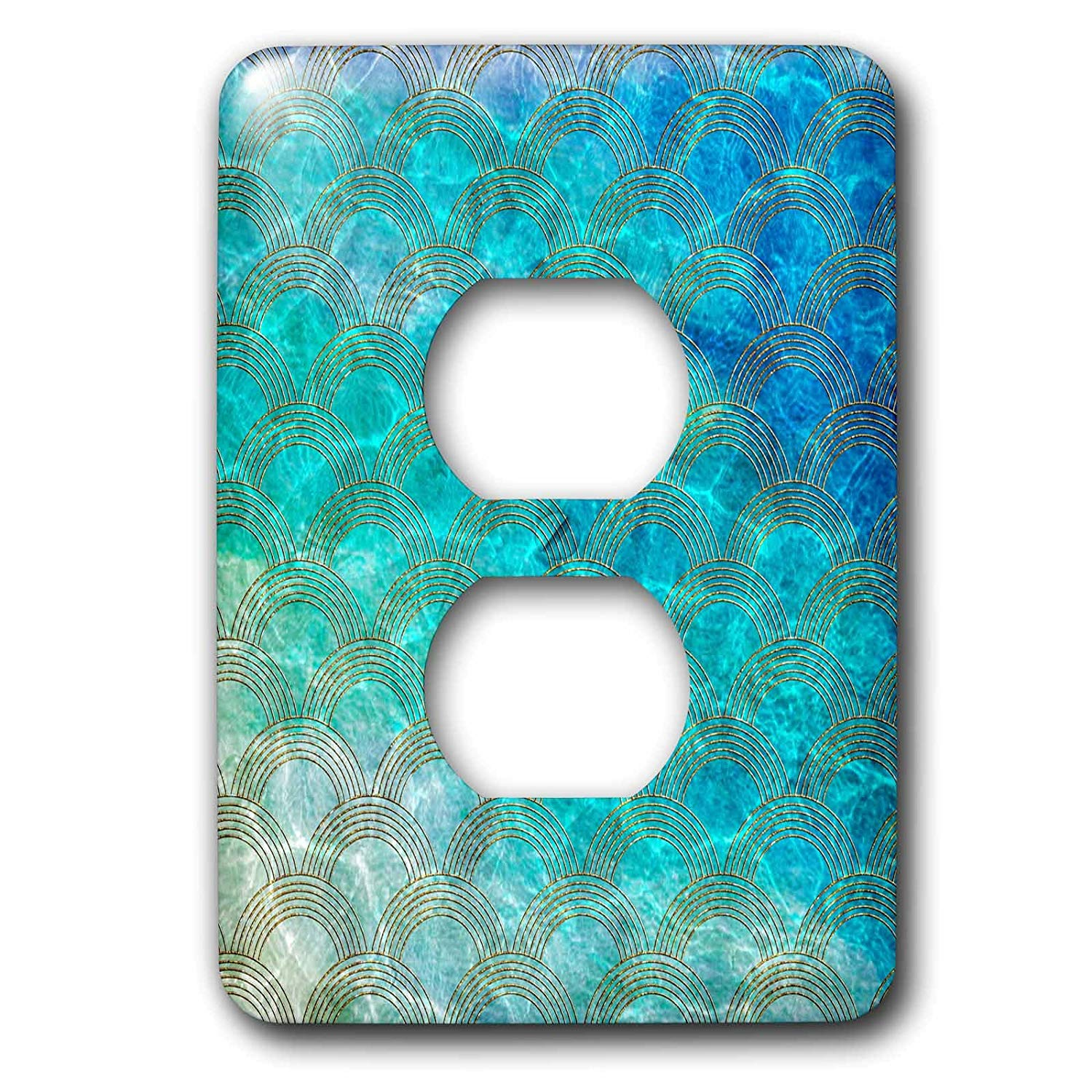 3dRose (lsp_266973_6) 2 Plug Outlet Cover (6) 2 Shiny Teal Ocean Mermaid Scales Glitter Effect Art Print