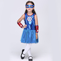 New Superwomen Cosplay Costumes Halloween Stage Performance Girl Costumes fantasia vestido Kids carnival party Outfit EK112