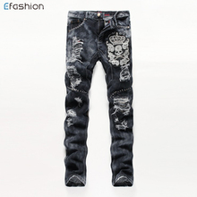 Offre Spéciale homme <span class=keywords><strong>crâne</strong></span> motif broderie pantalons et <span class=keywords><strong>jeans</strong></span> endommagés
