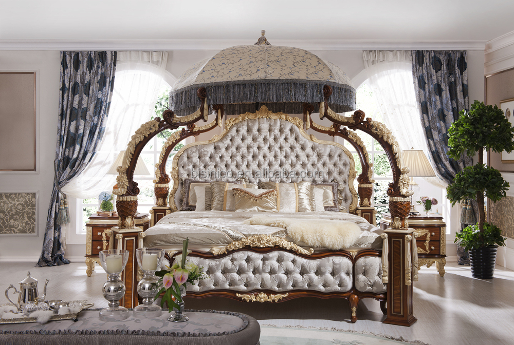 Italian / French Rococo Luxury Bedroom Furniture , Dubai