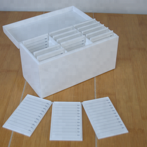 15 tiles White Marble Acrylic Lash Storage Box With Black Veins