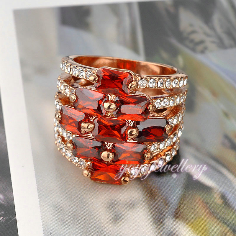 Fashion Modeling Jewelry Red Color Stones Gold Ring Designs For ...