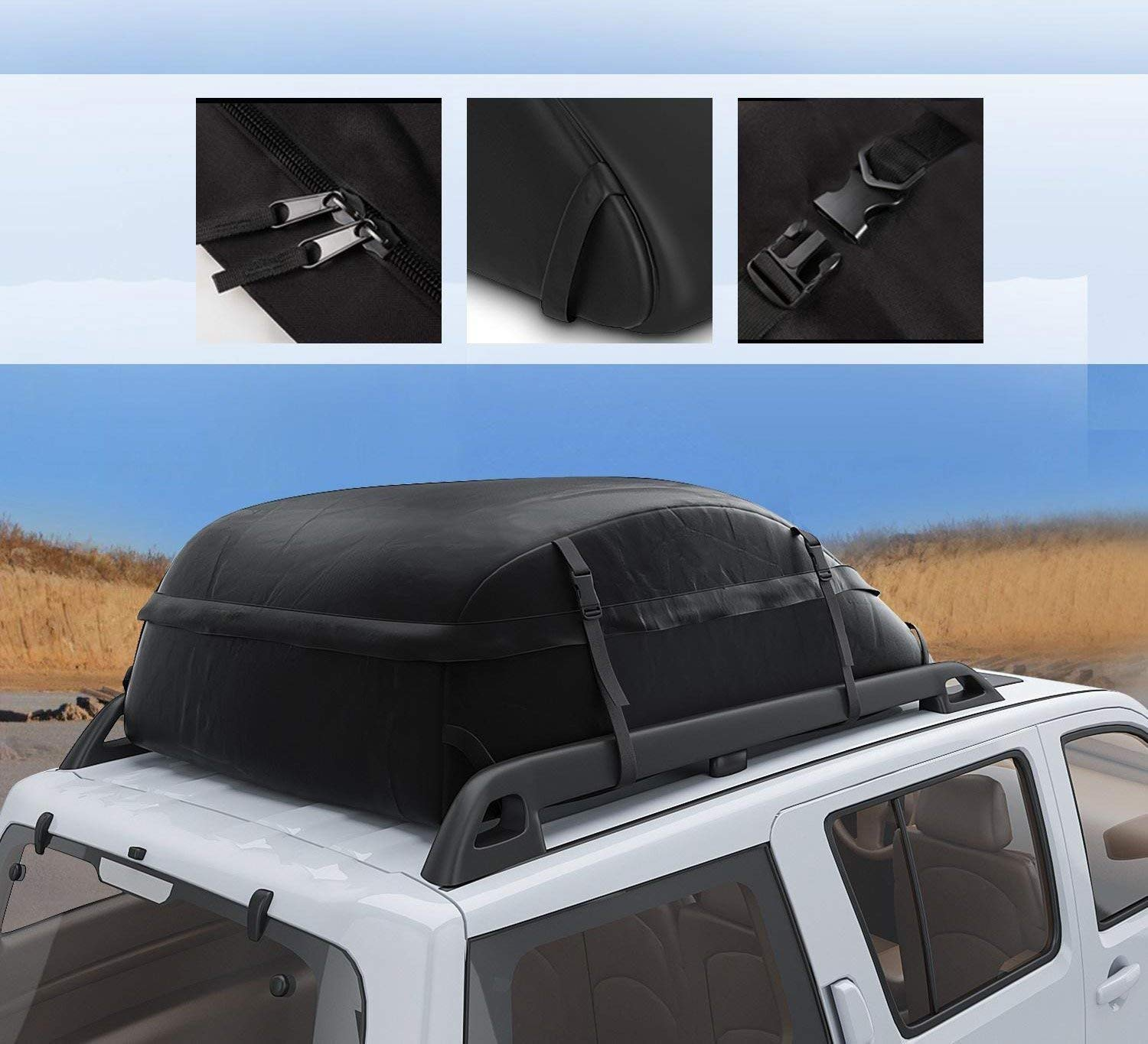 Soft Black CZC AUTO Car Roof Cargo Carrier ft Waterproof//Rainproof//Weatherproof Rooftop Storage Bag for Car SUV Van Sedan with Roof Rail Cross Bar Basket or Rack 15 cu