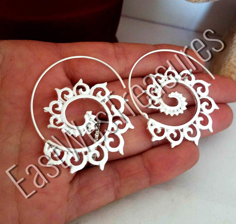 c47c3d833 Get Quotations · EWT Large SILVER Spiral Moroccan Lotus Flower Hoop dangle  drop Ethnic Tribal Gypsy Turkish earrings-