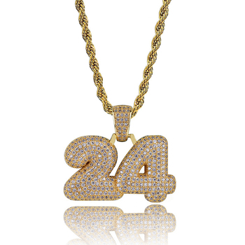 AP22496 Custom fashion hip hop digital necklace jewelry diamond chains pendant for men