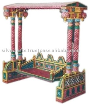 Royal Indian Rajasthani Jodhpur Hand Carved Wooden Painted Swing ...
