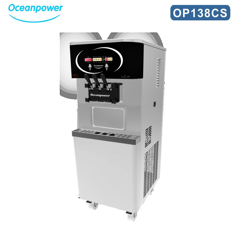oceanpower OP138CS commercial soft serve ice cream machine with pre-cooling system