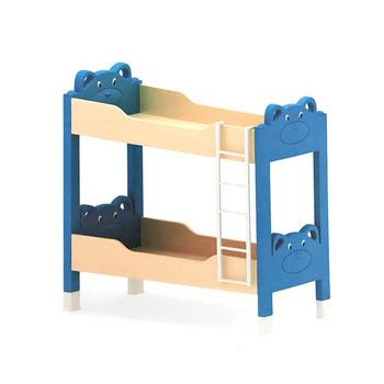 Kindergarten Furniture Cartoon Bear Plastic And Wooden Double Deck Designs Children Double Bed