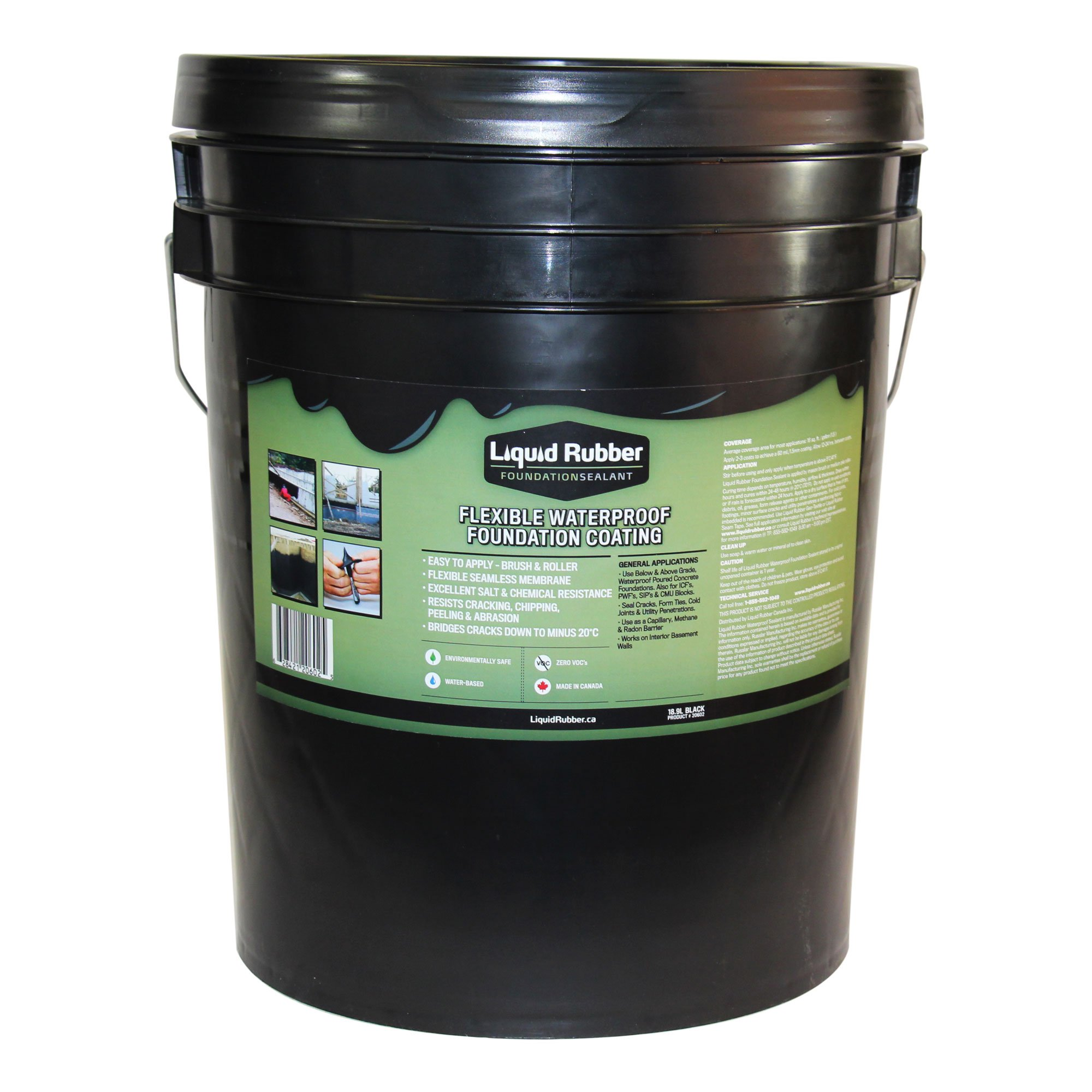 Liquid Rubber Foundation Sealant/Basement Coating - 5 Gallon - Black - Environmentally Friendly - Water Based - No Solvents, VOC's or Harmful Odors - No Mixing - Fix Leaks and Cracks - TOP SELLER