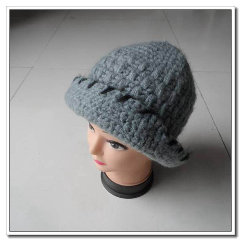2014 new design Plain flower angora billycock/winter hat
