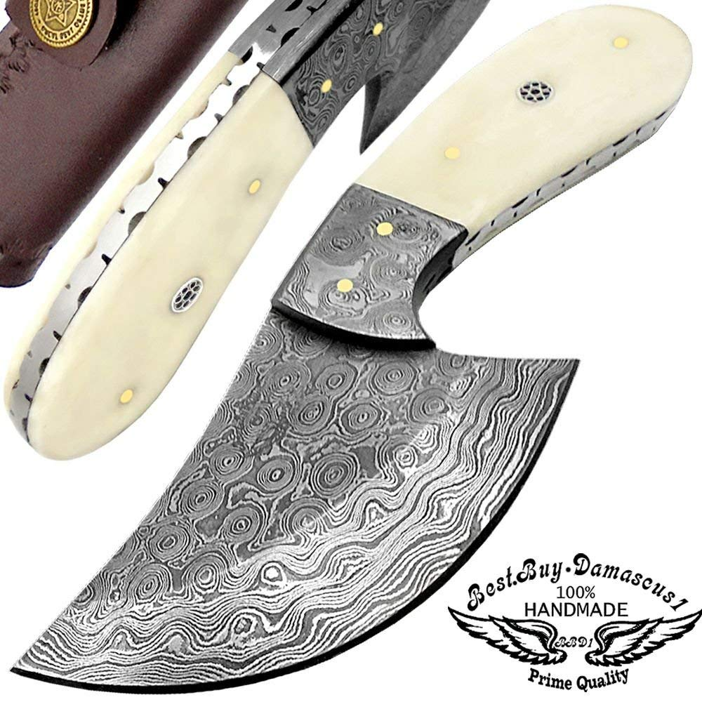 """Camel Bome 7"""" Fixed Blade Custom Handmade Damascus Steel Skinner Hunting Knife Brass Spacers Unique File Work On The Handel A Piece Craftsmanship 100% Prime Quality"""