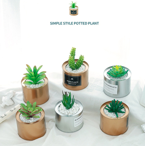 2018 Popular Europe Simple Style Faux Mini Potted Plants Artificial Cactus And Succulent In Pots