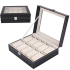 Wholesale classic 2/3/6/10/12/20/24 slots watch box black PU leather watch box with glass window