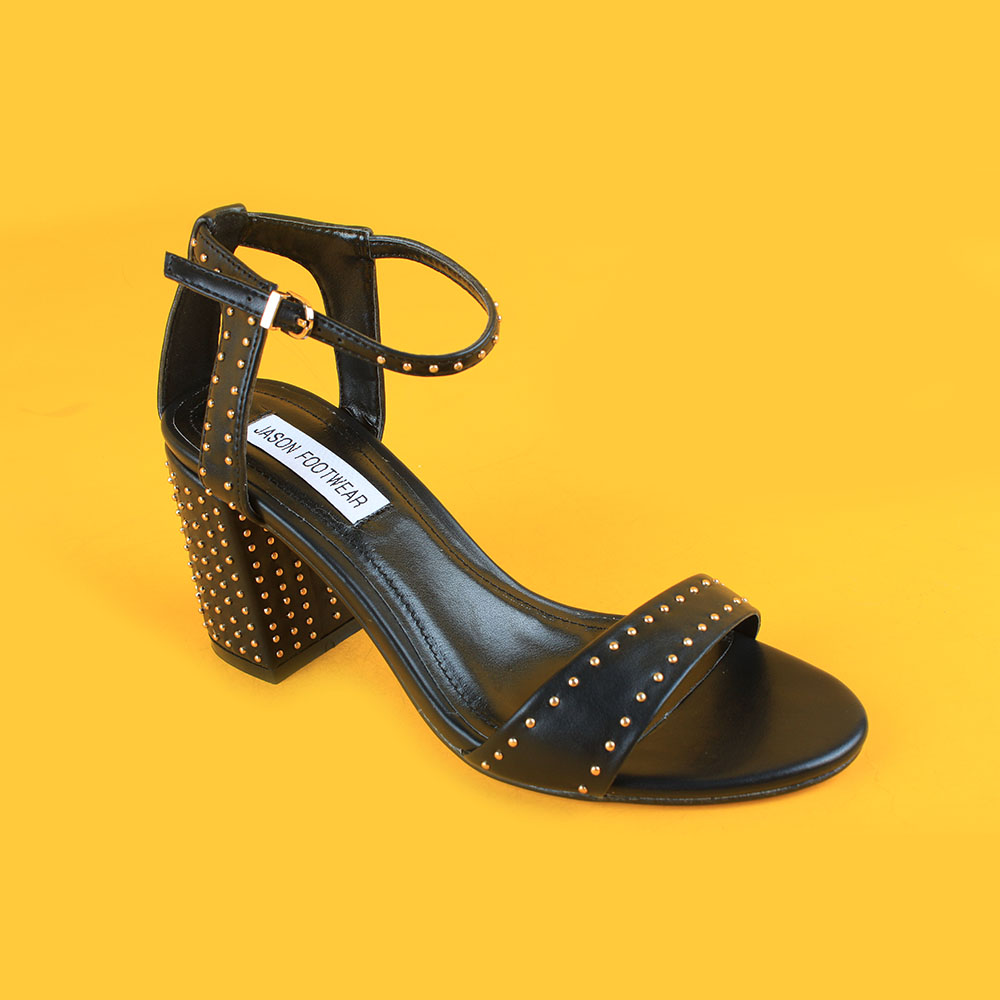 ladies mid heel all black ankel strap sandals with gold beads