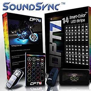 14pc SoundSync0153; Aura Motorcycle LED Light Kit - Lights Flash To Music | Multi-Color Accent Glow Neon Strips w/Switch for Cruisers