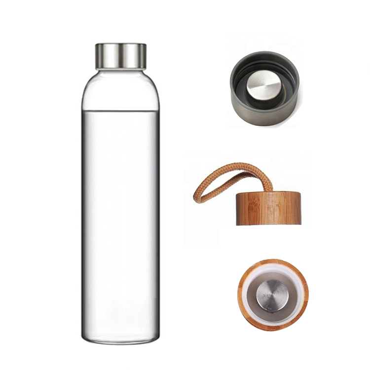 Eco friendly small neck glass sport drink water bottle with bamboo steel lid