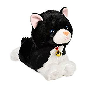 Electronic Toy Cat Kitten Pet Robot Cat Interactive For Children Kids Funny Walking Meow Sound Toys Plush Cat (Black)