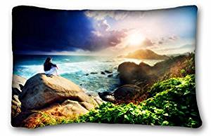 """Generic Baby Boys' Landscapes nature girl sea waves sky island sun rays clouds stones rocks greens Size 20""""X30"""""""