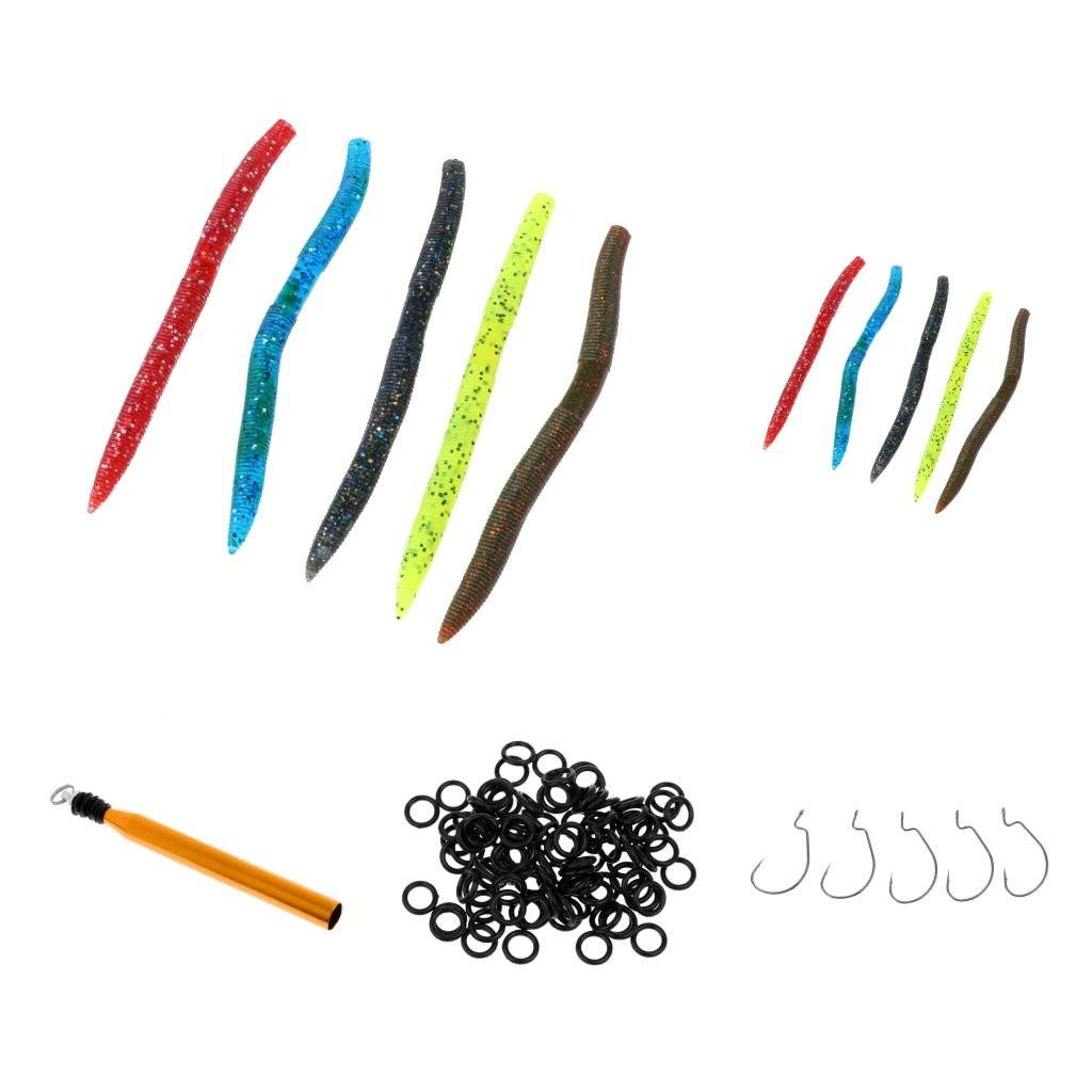 Baosity Quick Change Rings and Soft Fishing Lures + Lures O-Ring Tool + Offset Hooks