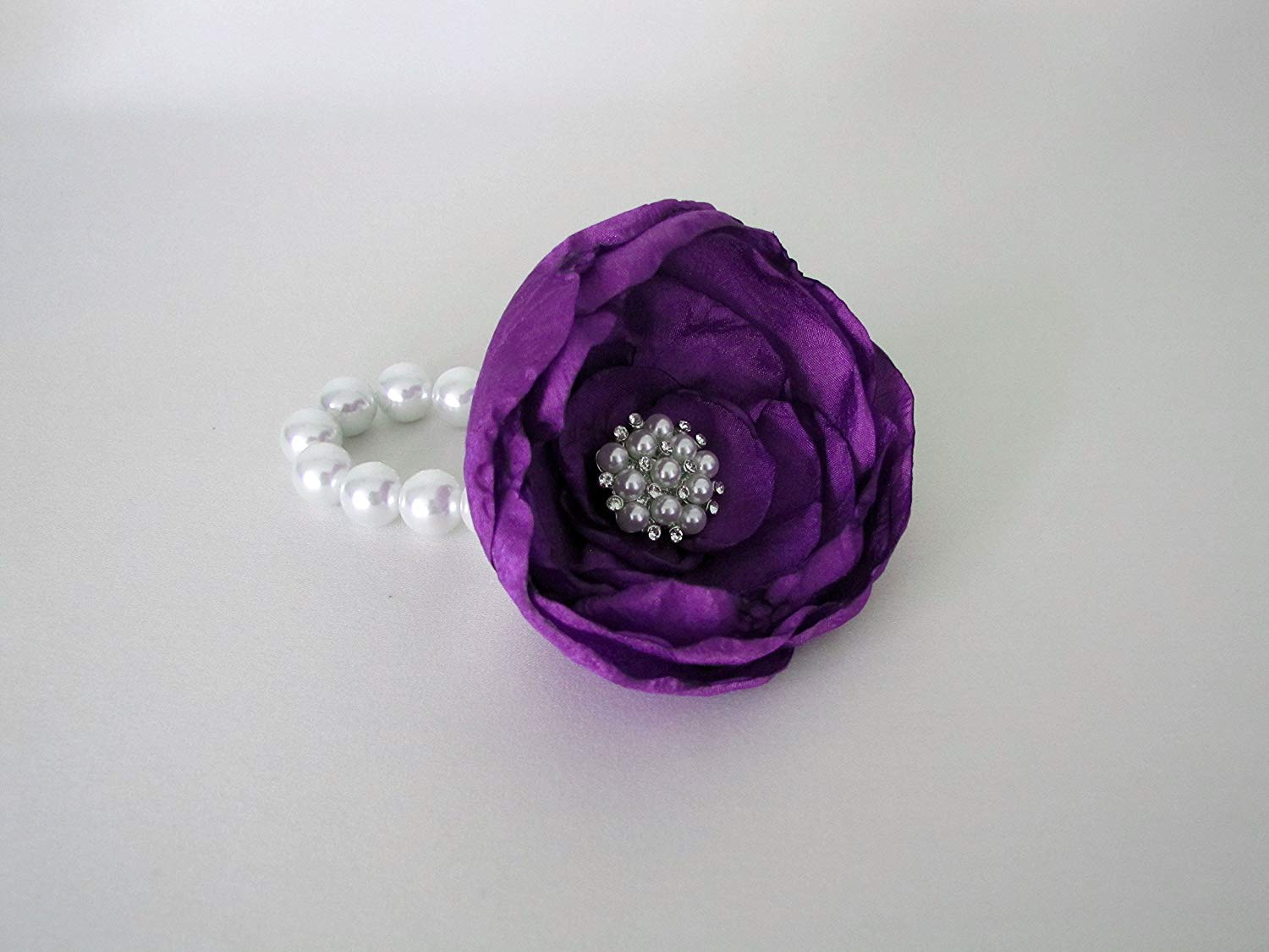 6fb401f0e Get Quotations · Purple Wrist Corsage, Wine Fabric Flower Mother of the Bride  Brooch Rhinestone Bracelet, Prom