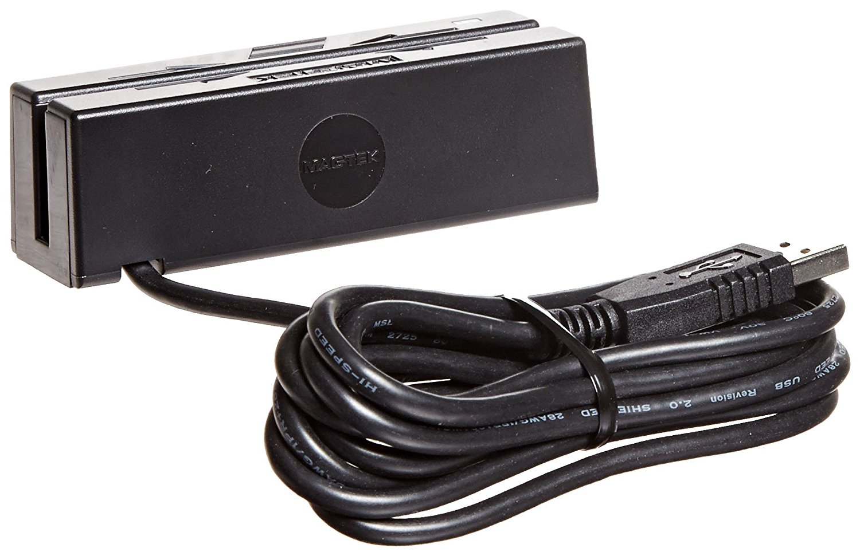 MagTek 21040140 SureSwipe Dual Head Triple Track USB HID Magnetic Stripe Reader with 6' Cable, 60 in/s Swipe Speed, 5V, Black