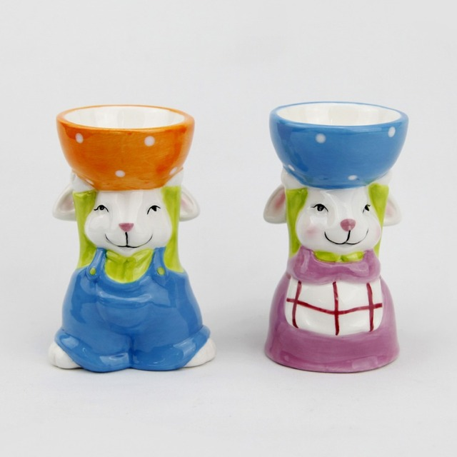 China ceramic easter gift wholesale alibaba ceramic blue sitting easter bunny egg holder for kitchen gifts negle Images