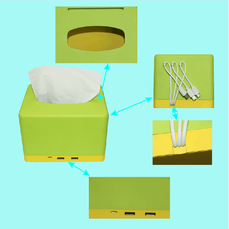 2017 newest design tissue box napkin holder power bank 10000mah with built in cable