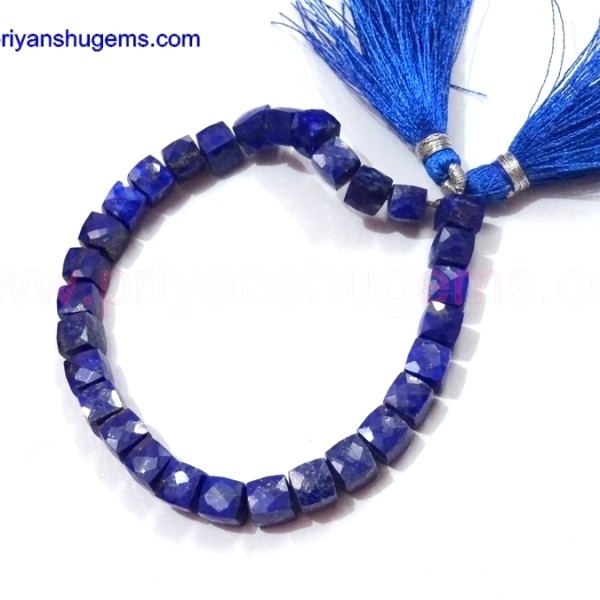 "Lapis lazuli handmade 3D cube box shape beads briolette, 7 ""chain length of 100% natural gemstones"