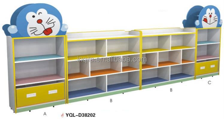 Cartoon Design Kindergarten Wooden Furniture, Kids Toys Cabinet For Sale
