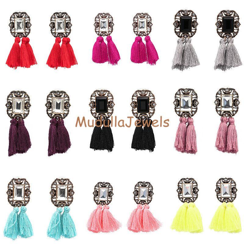 E17063001 New Design Earring Jewelry Olde Worlde Short Fringe Colorful Cotton Tassel Clear Diamond Crystal Charm Drop Earrings